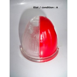 """Cabochon feu gabarit rouge/cristal """"obus"""" AXO (verre)"""